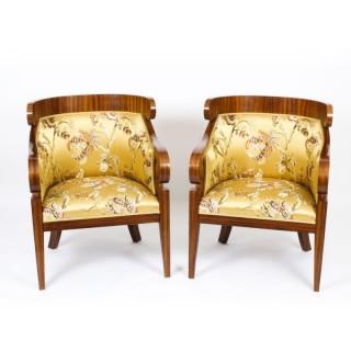 Antique Pair Art Deco Zebra Wood Armchairs 20th Century
