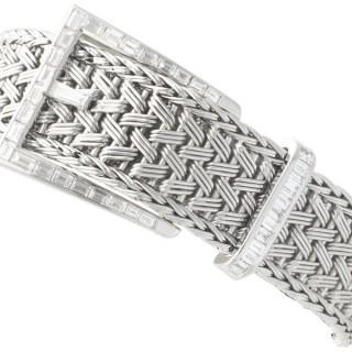 1.50 ct Diamond and 18 ct White Gold Bracelet - Vintage French Circa 1940