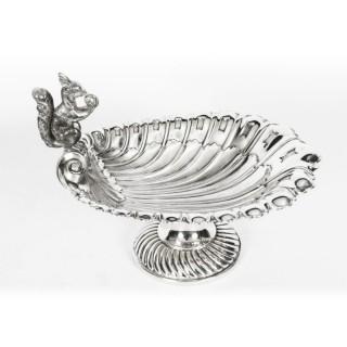 Antique Victorian Silver Plated Squirrel Nut Dish Francis Howard circa 1870