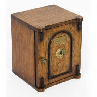 Antique Victorian Oak Novelty Cigar Humidor Box C1870