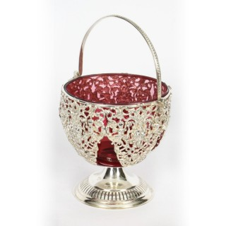 Antique Silver plate & Cranberry Glass Bon Bon Dish 19th Century