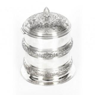 Antique Silver Plate Drum Biscuit Box Elkington & Co 19th Century