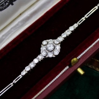 A very fine Edwardian Diamond Demi-Bracelet set in 18ct Gold and Platinum tipped, English, Circa 1910