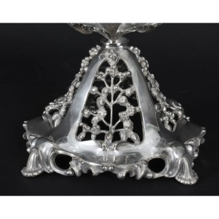 Antique Victorian Silver-plate & Cut Crystal Centerpiece 19th C