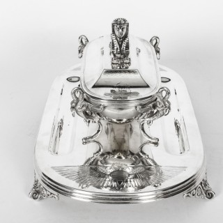 Antique Victorian Egyptian Revival Silver plate Ink Well Stand 19th Century