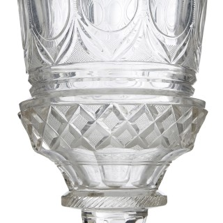 Antique 19th Century Cut and Engraved Bohemian Glass Goblet