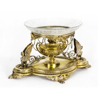 Antique Victorian silver gilt Centrepiece Glass Elkington & Co 19th C