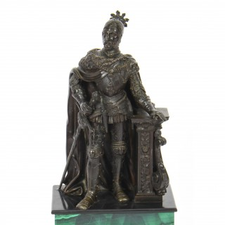Antique French Malachite & Bronze Sculpture of a knight in armour 19th C