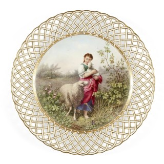 'The Shepherd's Daughter' Painted Derby Porcelain Plate by James Rouse