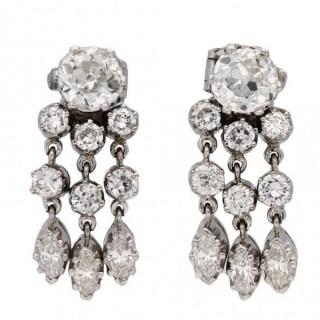 Diamond night and day earrings, circa 1935.