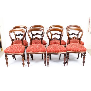 Antique Set 8 Victorian Mahogany Balloon Back Dining Chairs 19th Century