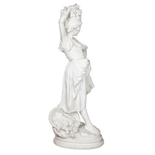 'The Harvester' Antique Italian Marble Sculpture by Ferdinando Vichi