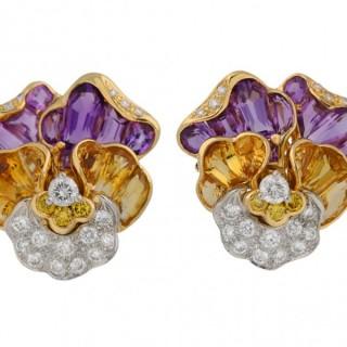 Oscar Heyman Brothers pansy earrings, American, circa 1960.