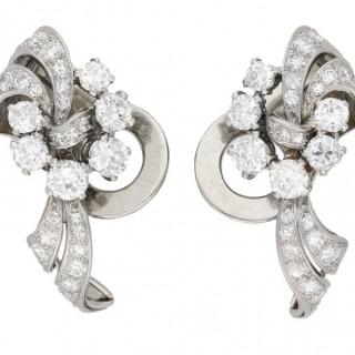 Garrard diamond clip earrings, English, circa 1950.