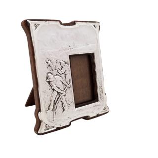Antique Art Nouveau Sterling Silver Photo Frame 1904 - Peace Hath Her Victories