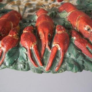 19th Century Longchamp Majolica Lobster Platter