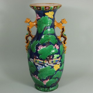 Large Minton Victorian Majolica Exotic 'Indian' Vase