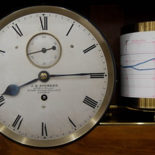 Late Victorian Self Recording Aneroid Barometer or Weather Station by JH Steward London