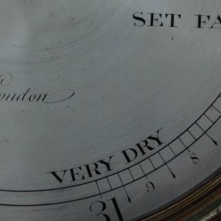 George III Satinwood Wheel Barometer by James Long, Royal Exchange, London