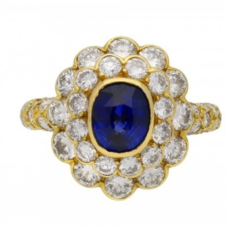 Mauboussin vintage sapphire and diamond cluster ring, French, circa 1970.