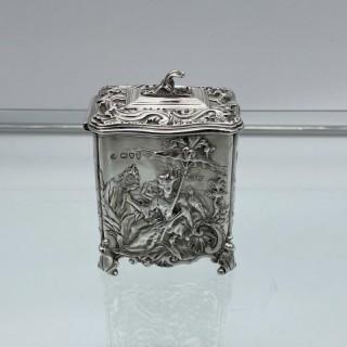 Antique Victorian Sterling Silver Tea Caddy London 1894 George Fox