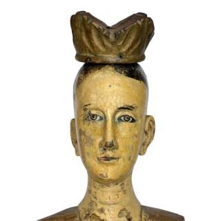 Walnut crowned Santos figure. Spain, 19th century