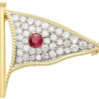 1.65ct Diamond and 0.48ct Ruby, 18ct Yellow Gold Flag Brooch - Vintage Circa 1945