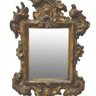 Giltwood rococo small mirror, Italy, 18th century
