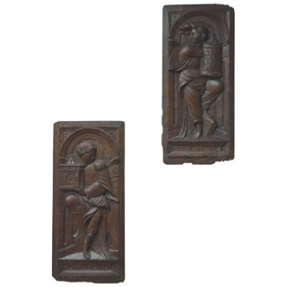 Two oak panels carved with two of the Virtues, France late 16th century