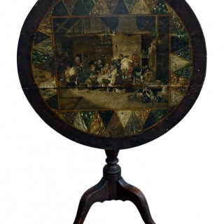 Tripod table with painted decoration, Dutch, early 18th century