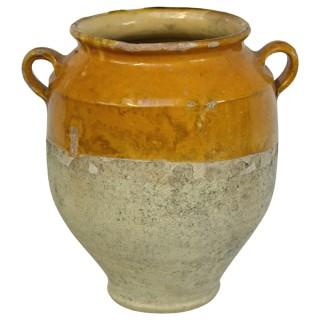 Yellow glazed confit jar, France, 19th century