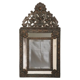 Small Louis XIV style mirror with brass decoration, Dutch early 19th century