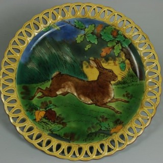 Wedgwood Majolica Pictorial Hare Compote