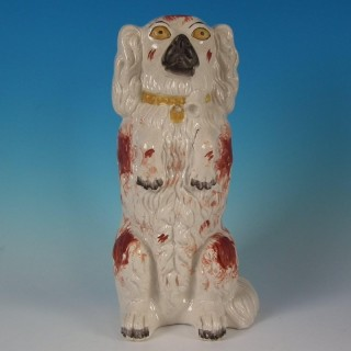 Large Rare Staffordshire Begging Spaniel Smoking a Pipe