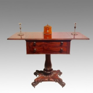 William IV mahogany pedestal worktable.