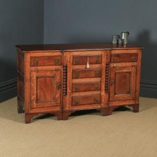 Antique Welsh Anglesey Breakfront Georgian Oak, Mahogany & Fruitwood Side board Dresser Base (Circa 1820)