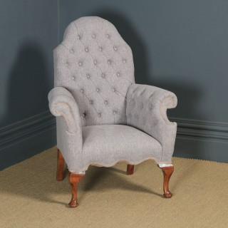 Antique English Queen Anne Style Grey Upholstered Beech Wing Arm Chair (Circa 1920)