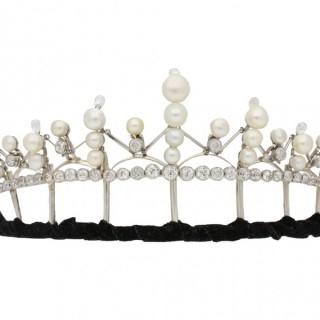 Natural pearl and diamond tiara/necklace/bracelet, circa 1920.