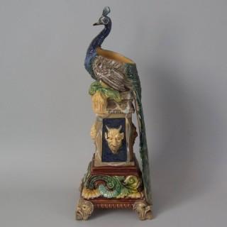 Wilhelm Schiller & Sons Majolica Peacock Vase
