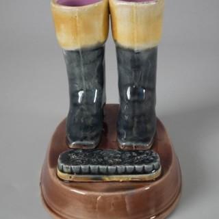 Majolica Boots & Brush Match Holder
