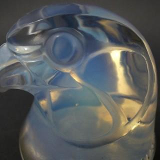 Rene Lalique Glass Opalescent Tete d'epervier Falcon Mascot