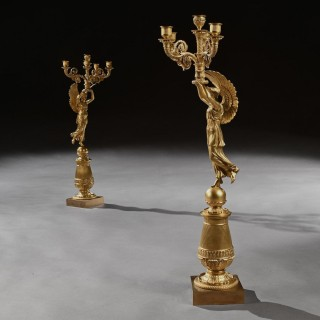 Exceptional Pair of French Late Empire Gilt-bronze Candelabra Attributed to Pierre-Philippe Thomire