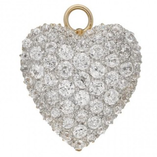 Antique heart shape diamond pendant/brooch, English, circa 1900.