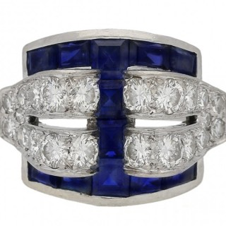 Art Deco Tiffany & Co sapphire and diamond cocktail ring, American, circa 1935.