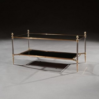 Mid 20th Century Maison Jansen Brass Steel and Leather Coffee Table