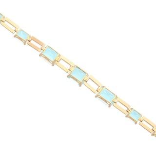 39.87ct Aquamarine and 18ct Yellow Gold Bracelet - Art Deco - Vintage Circa 1940