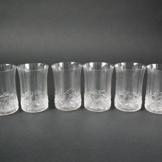 Rene Lalique Clear Glass 'Haarlem' Decanter and Glasses