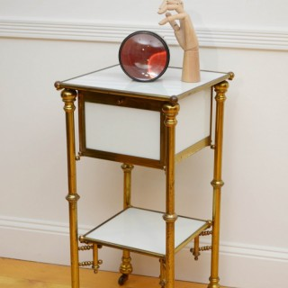 Unusual Late 19th Century Brass and Milk Glass Cabinet