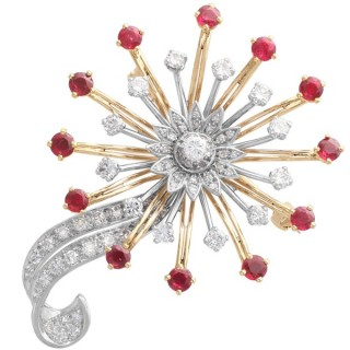 1.82 ct Ruby and 2.10 ct Diamond and 18 ct Yellow and White Gold Brooch - Vintage Circa 1960