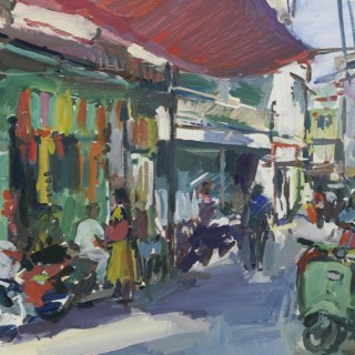 'Street Scene with Green Scooter, Udaipur' by Luke Martineau (born 1970)